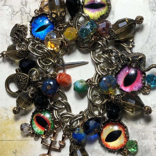 Art: Dragons  Altered art charm bracelet , mixed media , ooak by Artist Lisa  Wiktorek