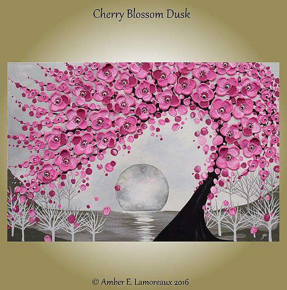 Art: Cherry Blossom Dusk (sold) by Artist Amber Elizabeth Lamoreaux
