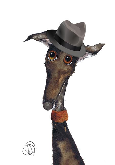 Art: GREYHOUND in HAT g288 by Artist Dawn Barker