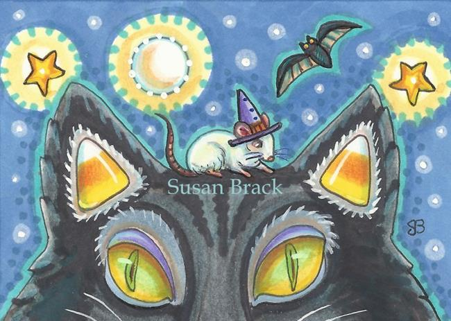 Art: BAT, RAT AND CANDY CORN CAT by Artist Susan Brack