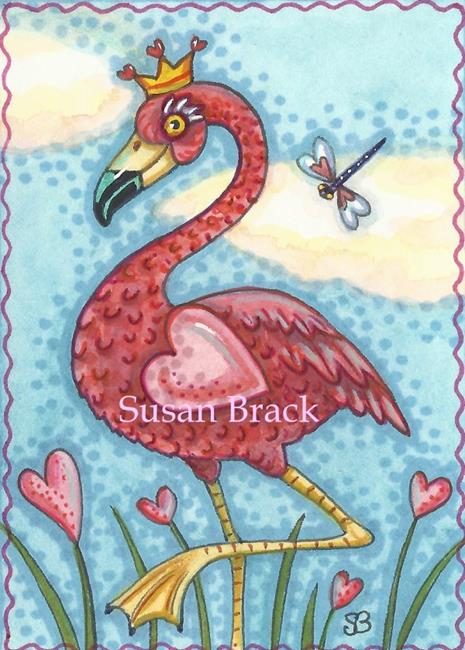 Art: KING OF HEARTS FLAMINGO by Artist Susan Brack