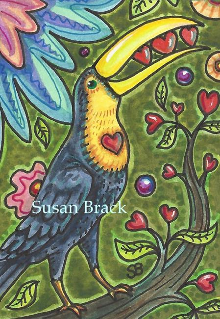 Art: TOUCAN TREE OF LIFE Hearts by Artist Susan Brack