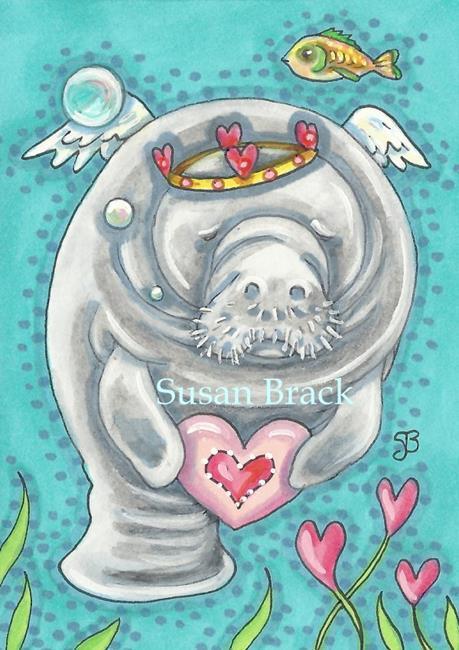 Art: MANATEE VALENTINE by Artist Susan Brack