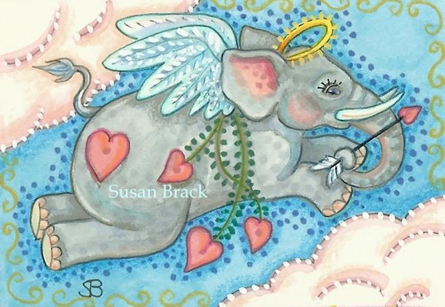 Art: CUPID Elephant by Artist Susan Brack
