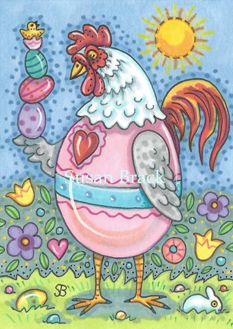 Art: A COCK A DOODLE EASTER by Artist Susan Brack