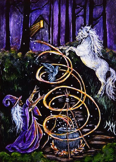 Art: Conjuring in the Woods  (SOLD) by Artist Monique Morin Matson