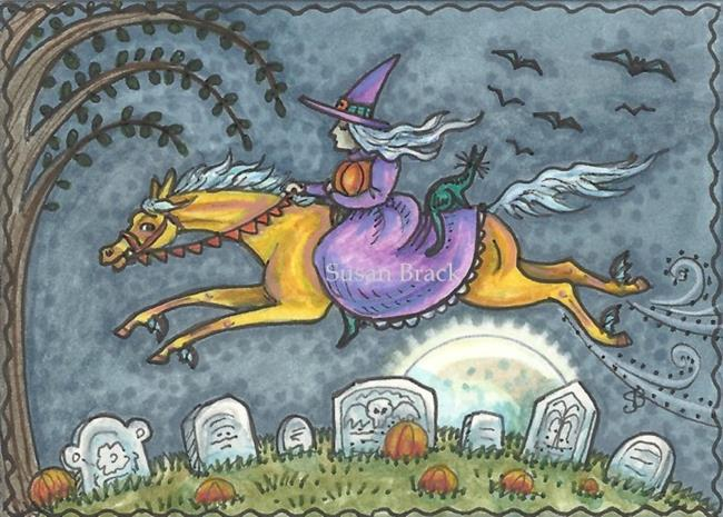 Art: CEMETERY DASH ON A BAT WINGED PONY by Artist Susan Brack