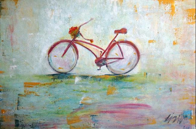 Art: THE RED BIKE by Artist LUIZA VIZOLI