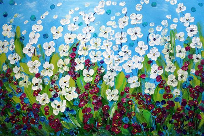Art: SUMMER FLOWERS FIELD by Artist LUIZA VIZOLI