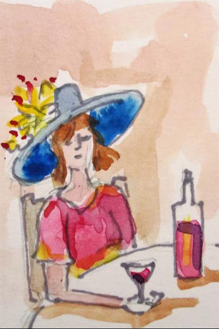 Art: Lady with Wine by Artist Delilah Smith