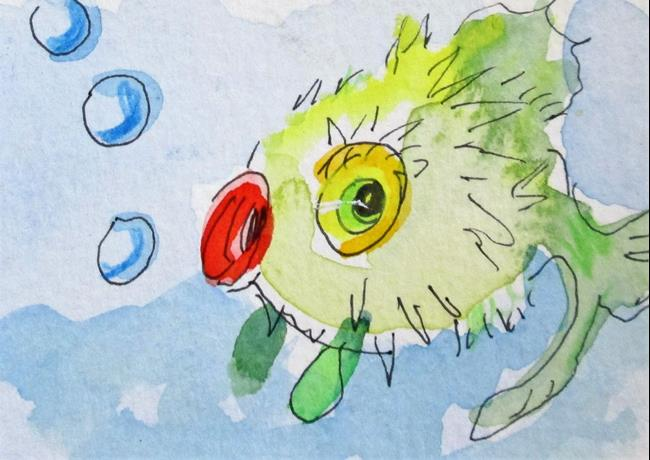 Art: Puffer Fish by Artist Delilah Smith