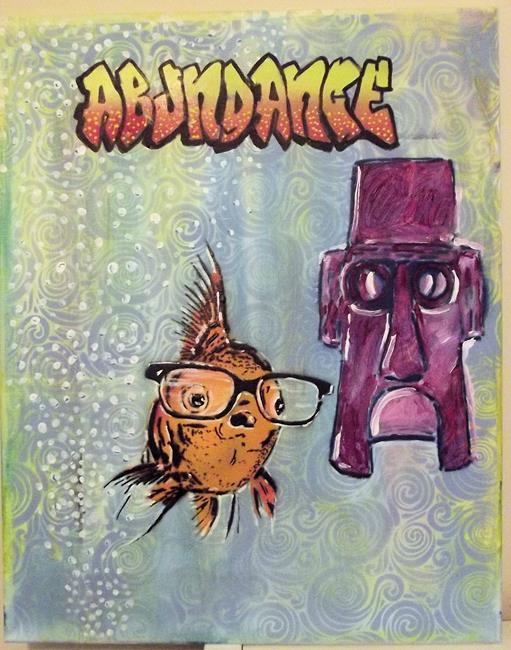 Art: Hipster Goldfish Pop Art Graffiti Original by Artist Paul Lake, Lucky Studios