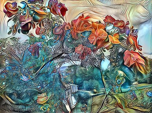 Art: Wild Roses by Artist Alma Lee