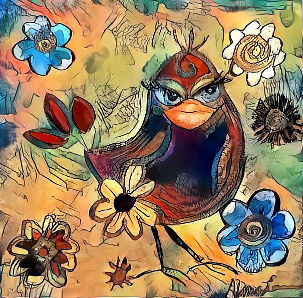 Art: birdie scarlett by Artist Alma Lee