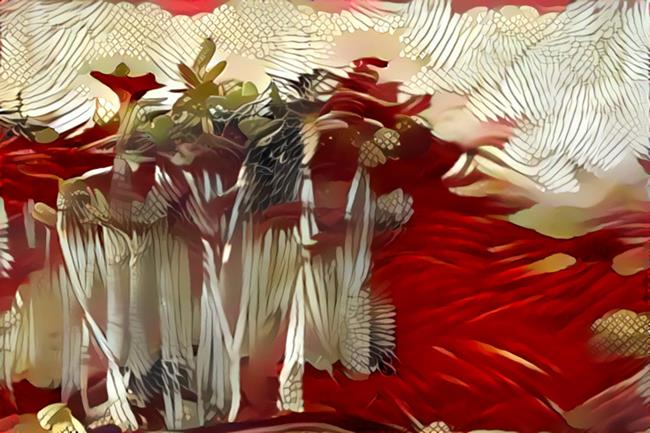 Art: Bamboo Forest in Red by Artist Alma Lee