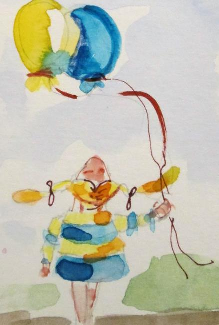 Art: Girl and Balloons by Artist Delilah Smith
