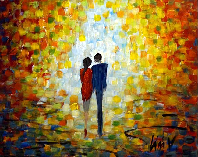 Art: A Happy Afternoon  Shelby and Michael Oct. 20,2018 by Artist LUIZA VIZOLI