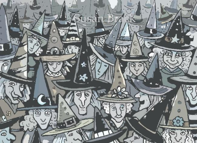 Art: SHADES OF GREY Witches by Artist Susan Brack