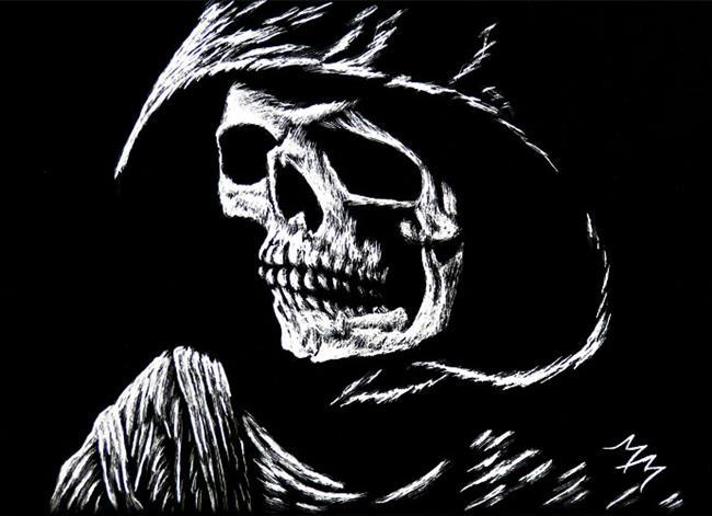 Art: Hooded Skull by Artist Monique Morin Matson