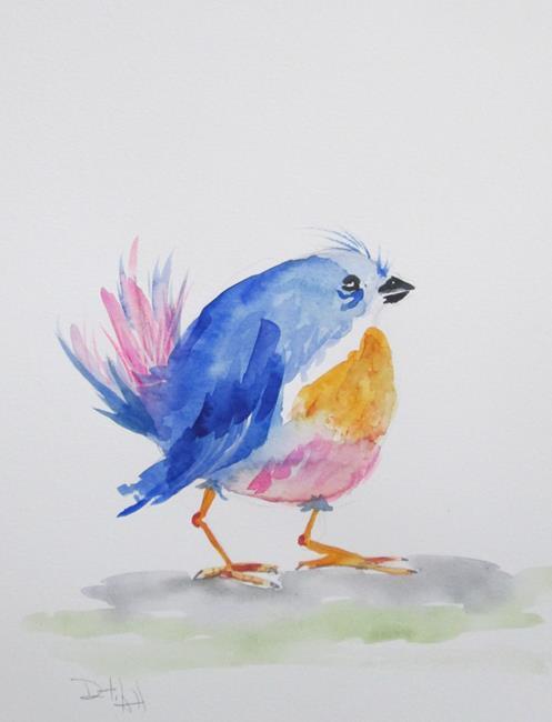 Art: Fat Bluebird by Artist Delilah Smith