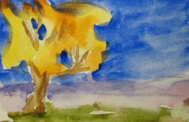 Art: Fall Tree Aceo by Artist Delilah Smith