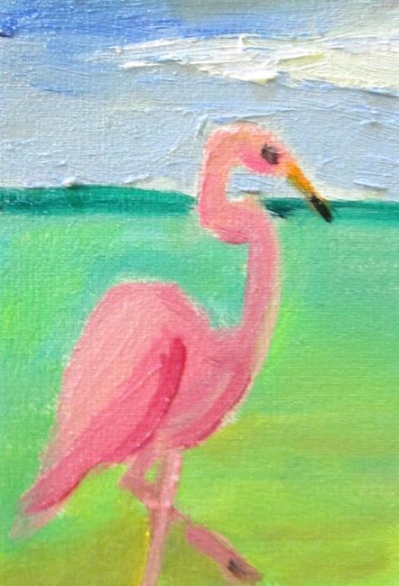 Art: Flamingo No. 14 aceo by Artist Delilah Smith
