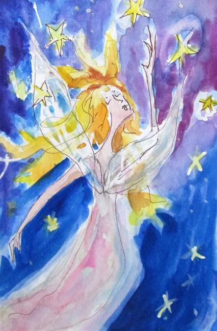 Art: Angel Catching Stars by Artist Delilah Smith