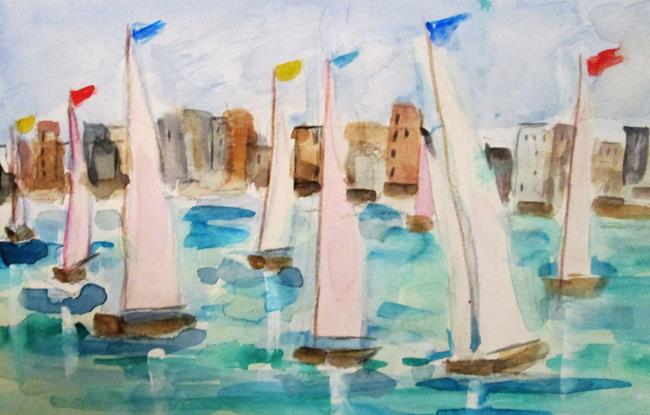 Art: Sailboats No. 10 by Artist Delilah Smith