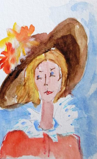 Art: Lady in a Hat by Artist Delilah Smith