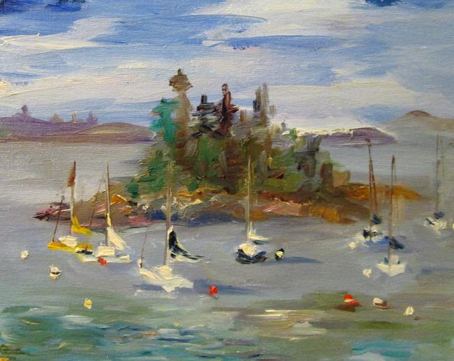 Art: Sailboats and Pine Island by Artist Delilah Smith