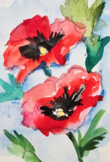 Art: Two Red  Poppies by Artist Delilah Smith