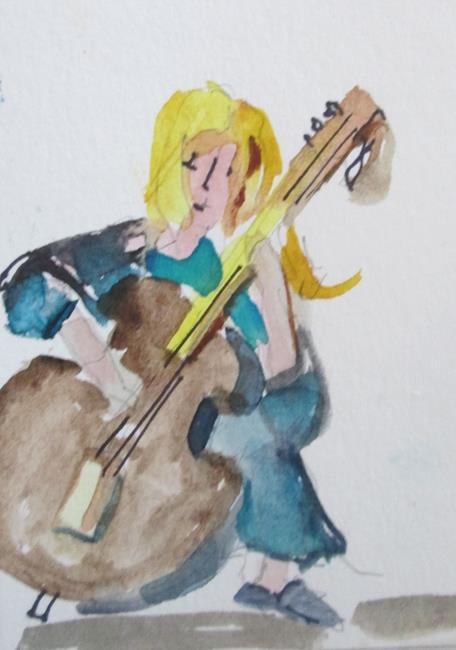Art: Cello Player by Artist Delilah Smith