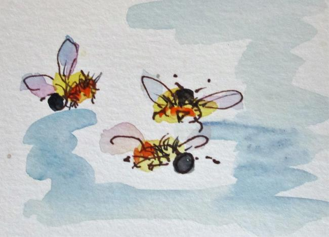 Art: Three Bumble Bees by Artist Delilah Smith