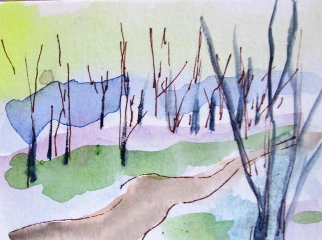 Art: Tree Lined Path by Artist Delilah Smith