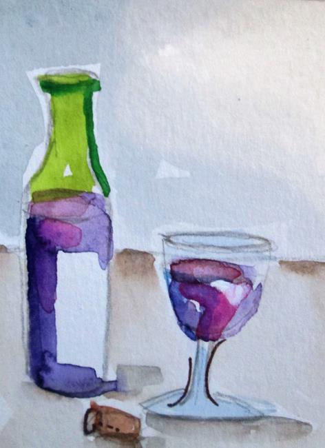 Art: Wine Bottle and Glass by Artist Delilah Smith