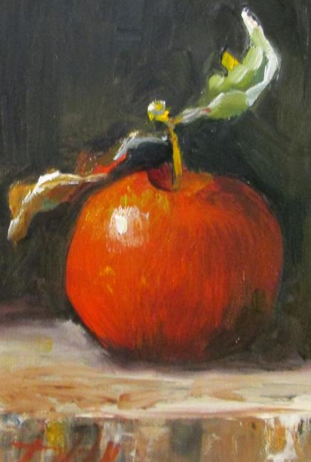 Art: Red Apple on a Wooden Block apple series No.12 by Artist Delilah Smith