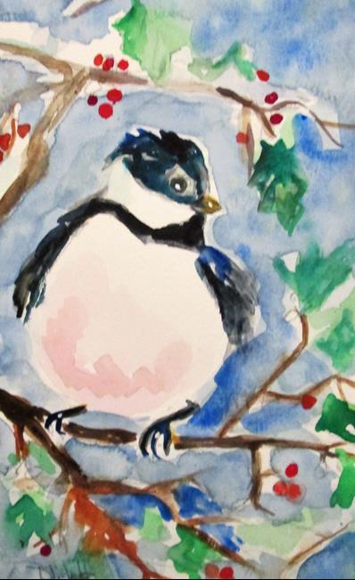 Art: Chubby Chickadee and Holly by Artist Delilah Smith