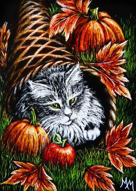 Art: Kitty Blessings  (SOLD) by Artist Monique Morin Matson