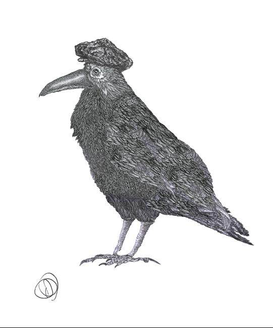 Art: CROW in HAT c202 by Artist Dawn Barker
