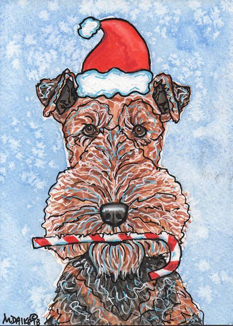 Art: Santa Dog & Candy Cane 1 - Airedale by Artist Melinda Dalke