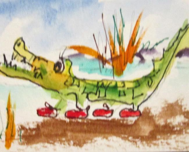 Art: Alligator Aceo by Artist Delilah Smith
