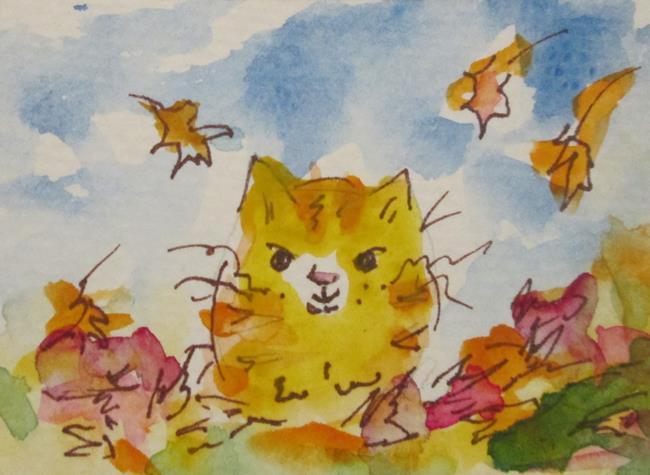 Art: Kitten in Leaves by Artist Delilah Smith