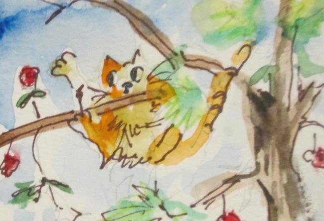 Art: Cat in Tree by Artist Delilah Smith