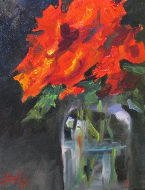 Art: Red Flowers in a Jar by Artist Delilah Smith