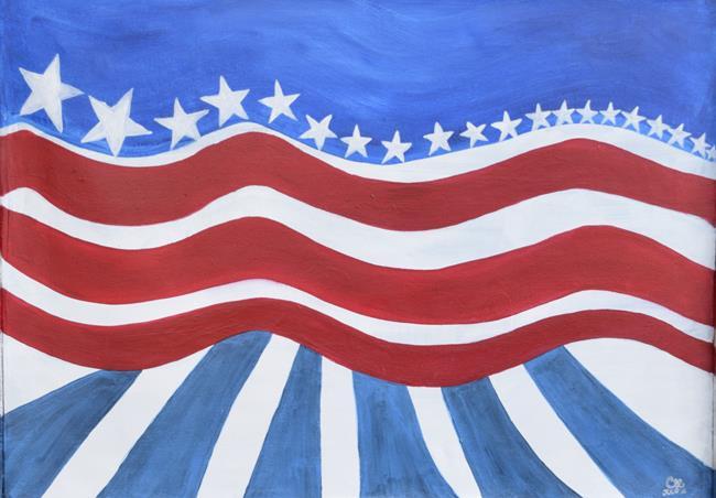 Art: Cherelle Art Painter USA Flag by Artist Cherelle Art