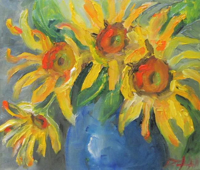 Art: Sunflowers in a Vase No. 5 by Artist Delilah Smith