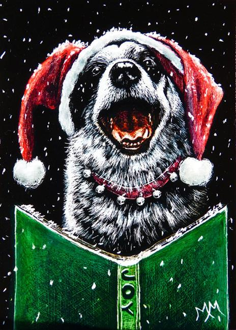 Art: Canine Caroler  (SOLD) by Artist Monique Morin Matson
