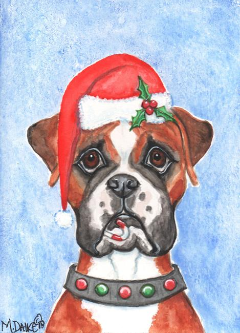 Art: Santa Boxer and Candy Cane by Artist Melinda Dalke