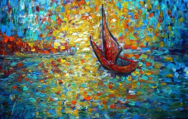 Art: RED BOAT AT SUNSET by Artist LUIZA VIZOLI