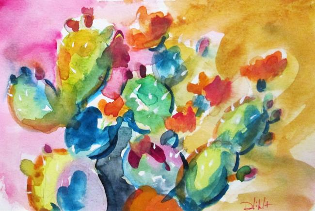Art: Cactus with pink sky by Artist Delilah Smith